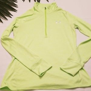 UNDER ARMOUR 1/4 ZIP LONG SMALL SHIRT TOP GREEN